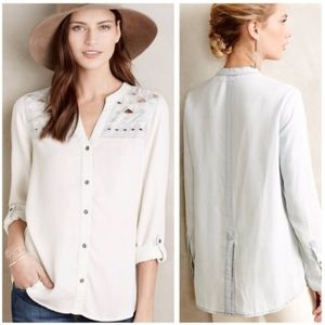 Holding Horses Lightwash Chambray Cutout Blouse